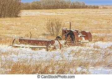 Rusty Tractor in the Snow
