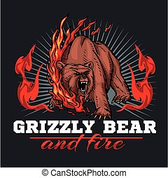 grizzly bear and fire, emblem elements - vector illustration...