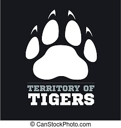 Tiger footprint on dark background - vector illustration -...