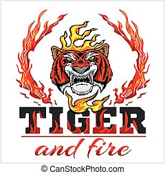Tiger head hand and fire - vector illustration - Tiger head...