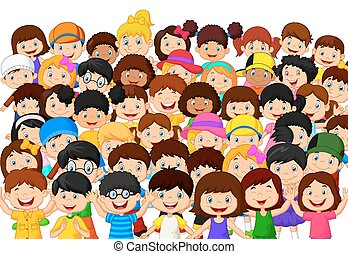 Crowd children cartoon - Vector illustration of Crowd...