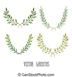 aquarela, floral, jogo, de, wreaths, ,