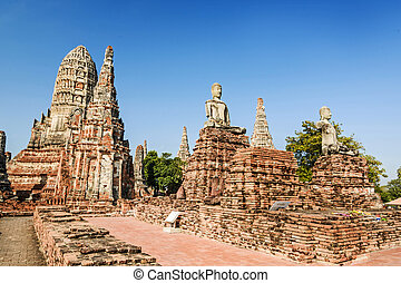 Old Temple, Wat Chaiwatthanaram Temple of Ayuthaya Province...