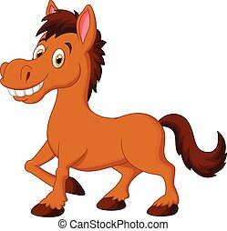Cute cartoon brown horse - Vector illustration of Cute...