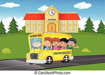 School Kids cartoon Riding a School - Vector illustration of...