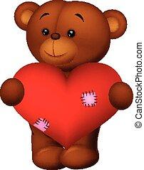 Happy cartoon bear holding heart