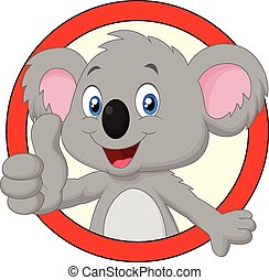 Cute koala cartoon giving thumb up