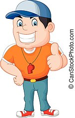 Cartoon coach giving a thumbs up - Vector illustration of...