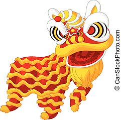 Cartoon Chinese lion dancing - Vector illustration of...