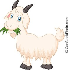 Cartoon goat eating grass - Vector illustration of Cartoon...