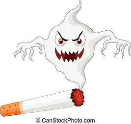 Cigarette with monster cartoon in s - Vector illustration of...