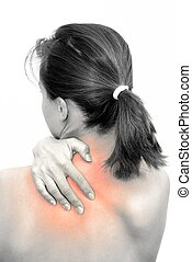 Neck pain - Pian in neck marked with red on BW body of young...