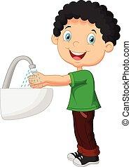 CÙte, seu, lavando, Menino, mãos, caricatura