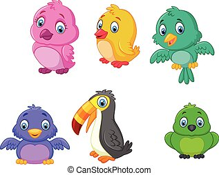 Cartoon birds collection set - Vector illustration of...