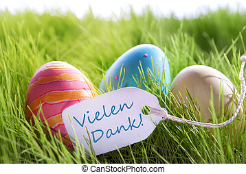 Happy Easter Background With Colorful Eggs And Label With...