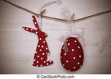Red Easter Bunny And Easter Egg Hanging On Line With Frame -...