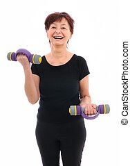 Senior woman with barbells - Smiling senior fitness woman...