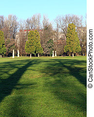 shadows trees in the City Park of VICENZA: Querini Park in...