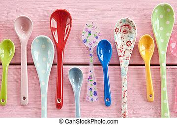 cucharas, té, multicolor