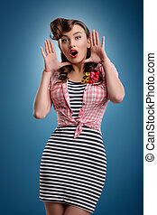 Beauty Surprised pinup girl on blue background