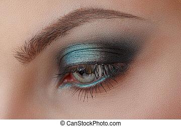 Beautiful Eye Makeup. Make up detail.
