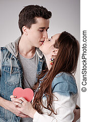 Young love couple kissing. Valentines Day.