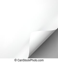 Curled white paper corner mockup template. Vector...