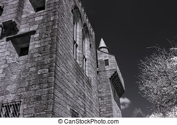Infrared old palace - Outdoor architectural details of the...