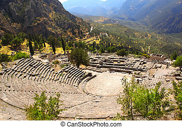 Ancient amphitheater and ruins of Temple of Apollo in...