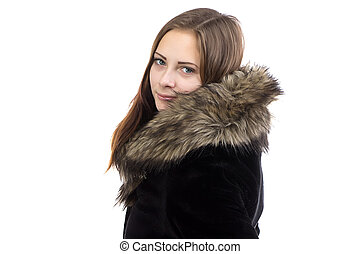 Photo of the attractive woman in fur coat