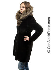Photo of the cute woman in winter coat