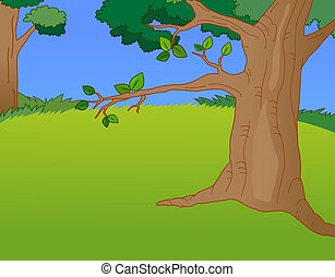park - a nice drawing of trees and lawns