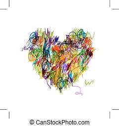 Colorful heart shape pencil drawing for your design