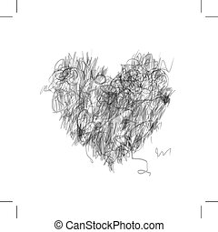 Heart shape pencil drawing for your design
