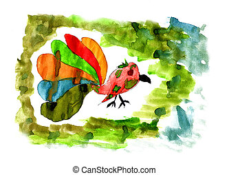 baby bird watercolor drawing with colored tail is isolated on a