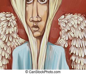 angel digital painting - Digital Painting Illustration of...