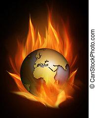 Burning - The hot burning world with many flames