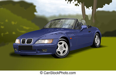 Blue Convertible - Blue vintage convertible car seen from...