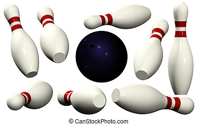 Bowling Pins - Isolated - Ten pins in red and white and one...