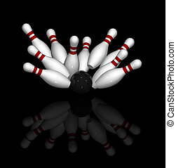 Bowling Strike - Ten 3D pins in red and white and one black...