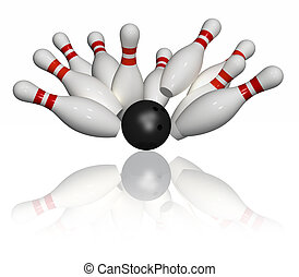 Bowling Strike - Isolated - Ten 3D pins in red and white and...