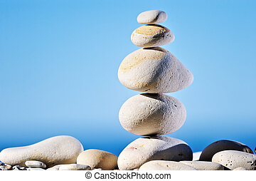 Lofty - Pebble of located in balance one after another in...
