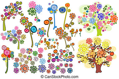 flowers - set of stylized flowers and trees