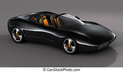 Dream Car - Home made black convertible sports car on a...