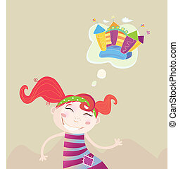 Childrens dream - New toy or something else Vector...