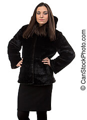 Photo of the serious woman in fur coat
