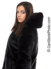 Photo of the woman in black winter coat