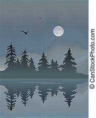 Moon Lake - Moon rising over a foggy lake