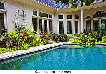 Garden Around Pool - A nice residential pool in an interior...