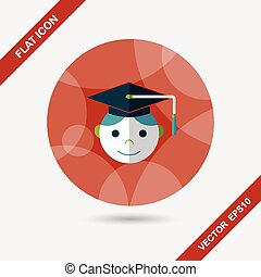 Graduation Man flat icon with long shadow,eps10